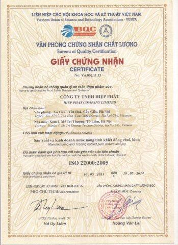 Chứng chỉ ISO 22000 -2005